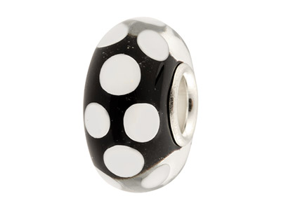 Perlina-Per-Charm,-Nero-A-Pois-Bianch...