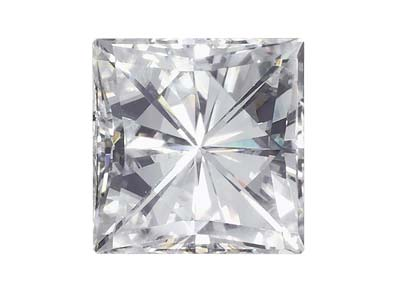 Moissanite, Quadrata, 4 Mm, 0,37 Ct, Equivalenza Diamante 0,42 Ct, Ottima Qualità